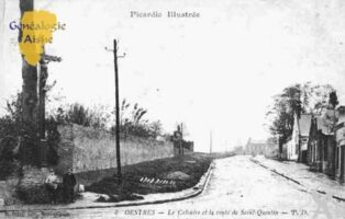 Oestres - Le calvaire et la route de Saint Quentin - Contributeur : Guy Gilkin