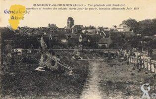 Vue générale côté Nord-Est avec cimetière et tombes des soldats morts pour la patrie invasion Allemande Juin 1918.   - Contributeur : François Gérard