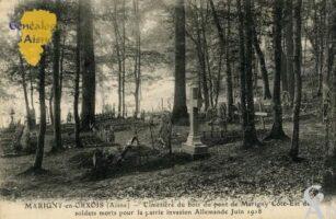 Cimetière du bois du pont de Marigny Côte-Est des soldats morts pour la patrie invasion Allemande  Juin 1918. - Contributeur : François Gérard