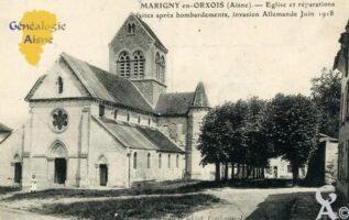 Église et réparations faites après les bombardements invasion Allemande Juin 1917. - Contributeur : François Gérard