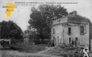 Presbytère après bombardement, invasion Allemande Juin 1918. - Contributeur : François Gérard