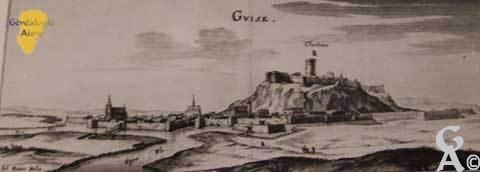 la ville de Guise et son château au début du XVIIème siècle - Contributeur : Archives municipales de Saint-Quentin