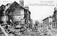 Chauny dans la Guerre - La France reconquise. Une rue après la fuite des barbares.
