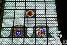 La cathédrale - Précieux vitraux représentants divers blasons.