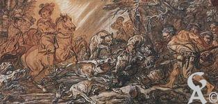 Le musée Antoine Lécuyer - 4. Charles Parrocel (1688-1752)  L'Europe sous l'emblème d'une chasse au sanglier, 1745  Sanguine, pierre noire, fusain, craie, pinceau, lavis, plume - 51 x 101 cm Saint-Quentin, Musée Antoine-Lécuyer © Musée Antoine-Lécuyer