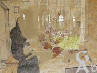 L'abbaye St Michel - Les peintures murales. Peintes au XVIéme siècle, elles évoques la vie et la légende de Saint Benoît. Cet ensemble de peintures naïves occupe six travées de l'aile nord du cloître de l'abbaye.