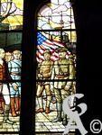 Le Temple - Vitrail du Temple représentant la Fayette, Foch, Joffre, Pétain et Nivelle.