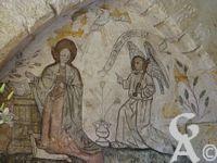 L'Annonciation - Peinture murale du XVé siècle. Mur ouest de l'ancienne chapelle du châtelain Royal. Etat après nettoyage et consolidation en 1991.