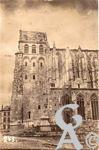 Les rues en ruines - La Basilique (carte postale allemande)