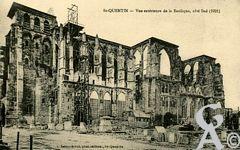La Basilique en ruines - Vue extérieure de la Basilique, côté Sud (1921).