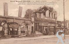 Les rues en ruines - Guerre Mondiale 1914-1918 - Rue de la Fère - Maison en ciment armé détruite par le bombardement.